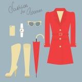 Fashion set of elegant female clothes for autumn Stock Photos