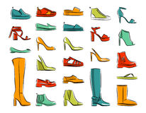 Fashion set of female shoes. Isolated collection of woman fashion footware. vector illustration