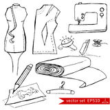 Fashion set. Graphic style. Fashion set. Various tools for sewing. illustration in hand drawing style Stock Illustration