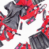 Fashion set hand drawn in bright colors with pencils and liner in red and black colors on white watercolor paper. Seamless pattern Royalty Free Stock Photo