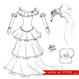 Fashion set.     Illustration in hand drawing style. Royalty Free Stock Photography