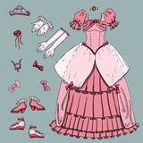 Fashion set.     Illustration in hand drawing style. Royalty Free Stock Photo