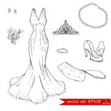 Fashion set.     Illustration in hand drawing style. Royalty Free Stock Image
