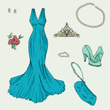 Fashion set.     Illustration in hand drawing style. Stock Photos