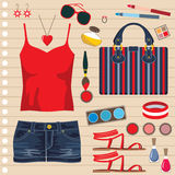 Fashion set with jeans skirt Royalty Free Stock Photography