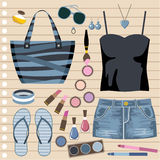 Fashion set with jeans skirt Royalty Free Stock Photo