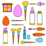 Fashion set. Makeup tools: blush, brow, powder brushes; dropped bottles of foundation; shadow palette, lipstick, mascara. Fashion set with colorful makeup tools vector illustration