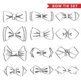 Fashion set with outline bow tie Royalty Free Stock Photography