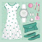 Fashion set in pastel tones with a dress Royalty Free Stock Image