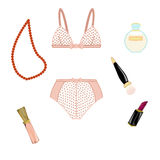 Fashion set with polka dots vintage lingerie and cosmetics Royalty Free Stock Images