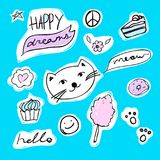 Fashion set of stickers with cat, heart, candyfloss and star. Vector cartoon illustration with donut and cupcake. Set of fashion stickers with unicorn, heart Royalty Free Stock Images