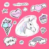 Fashion set of stickers with unicorn, hearts, ice-cream and stars. Vector cartoon illustration with rainbow and diamond. Set of fashion stickers with unicorn Royalty Free Stock Photo