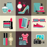 Fashion set in a style flat design. Royalty Free Stock Photography