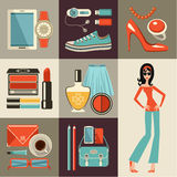 Fashion set in a style flat design. Royalty Free Stock Photos