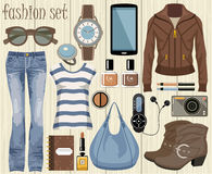 Fashion set in a style flat design. Royalty Free Stock Images