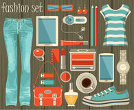 Fashion set in a style flat design. Royalty Free Stock Image