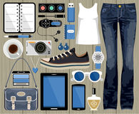 Fashion set in a style flat design. Stock Photo