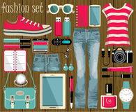 Fashion set in a style flat design. Royalty Free Stock Photo