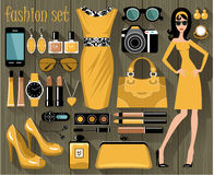 Fashion set in a style flat design Stock Photos