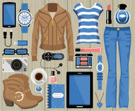 Fashion set in a style flat design. Stock Images