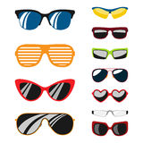 Fashion set sunglasses accessory sun spectacles plastic frame modern eyeglasses vector illustration. Stock Image