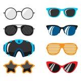 Fashion set sunglasses accessory sun spectacles plastic frame modern eyeglasses vector illustration. Stock Photos