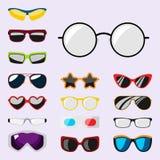Fashion set sunglasses accessory sun spectacles plastic frame modern eyeglasses vector illustration. Stock Images