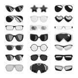 Fashion set sunglasses accessory sun spectacles plastic frame modern eyeglasses vector illustration. Fashion set sunglasses design retro accessory sun optical royalty free illustration