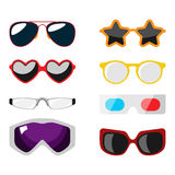 Fashion set sunglasses accessory sun spectacles plastic frame modern eyeglasses vector illustration. Stock Image