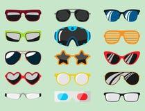 Fashion set sunglasses accessory sun spectacles plastic frame modern eyeglasses vector illustration. Royalty Free Stock Photo