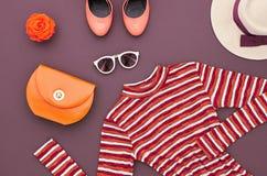 Fashion Set. Top view. Stylish Autumn Outfit.Retro Royalty Free Stock Photo