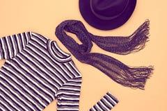 Fashion Set. Top view. Stylish Fall Autumn Concept. Autumn Fashion woman Clothes Accessories Set. Design fashion. Trendy Scarf Dress, Stylish Hat Glamor fashion Stock Photos