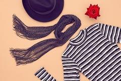 Fashion Set. Top view. Stylish Fall Autumn Concept. Autumn Fashion woman Clothes Accessories Set. Design fashion. Trendy Scarf Dress, Stylish Hat Glamor fashion Stock Photography