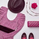 Fashion Set. Top view. Stylish Fall Autumn Outfit. Autumn Arrives. Fall Fashion. Woman Stylish Outfit. Design fashion. Trendy Dress, Glamor fashion Heels Stock Photos