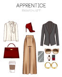 Fashion set of woman's clothes, accessories, and shoes clip art collection Royalty Free Stock Photo