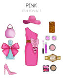 Fashion set of woman's clothes, accessories, and shoes clip art collection stock photography