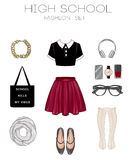 Fashion set of woman's clothes, accessories, and shoes clip art collection Royalty Free Stock Images