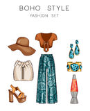 Fashion set of woman's clothes, accessories, and shoes Clip Art set Royalty Free Stock Photos