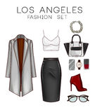 Fashion set of woman's clothes, accessories, and shoes Clip Art set Royalty Free Stock Photo