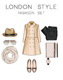 Fashion set of woman's clothes, accessories, and shoes - fashion clip art Royalty Free Stock Photos