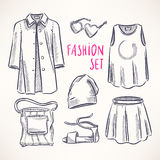Fashion set with women's clothing - 2 Royalty Free Stock Photos