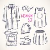 Fashion set with women's clothing - 2 Royalty Free Stock Photos