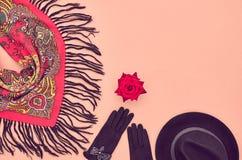 Fashion seten Top beskådar Stilfull nedgång Autumn Concept Royaltyfri Fotografi
