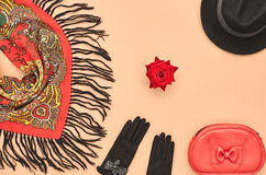 Fashion seten Top beskådar Stilfull nedgång Autumn Concept Arkivbilder