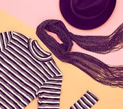Fashion seten Top beskådar Stilfull nedgång Autumn Outfit Fotografering för Bildbyråer