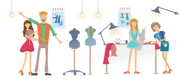Fashion sewing Studio, Atelier. Women sew clothes. A man tries on clothes. Vector illustration, isolated on white Royalty Free Stock Image