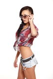 Fashion sexy brunette girl in jeans and shirt Stock Photo