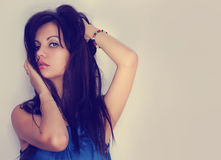 Fashion sexy brunette. Glamour girl. Portrait of beautiful young woman. Royalty Free Stock Images