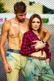 Fashion sexy couple in the street in casual hipster cloth Royalty Free Stock Photography