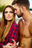 Fashion sexy couple in the street in casual hipster cloth Royalty Free Stock Photos